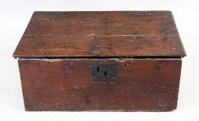 An 18th century oak bible box, with hing