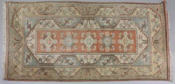 A Turkish rug, with a row of five centra