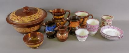 A collection of Victorian copper lustre ware including a large circular bowl and cover,