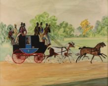 English School, 19th Century, Gentleman on a horse drawn carriage, a country house beyond,
