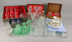 A boxed Bohemia crystal decanter and six glasses, boxed Tutbury, Villandry, Royal Scott,