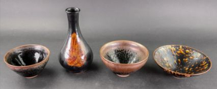 A group of Chinese Song-style pottery, comprising; a tortoiseshell glazed bowl, 15.