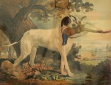 English School, circa 1840, Sancho - a gun dog with dead pheasant in it's mouth in a landscape,