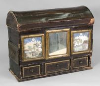 A Dutch lacquered grained as walnut gilt and ebonised domed top casket,
