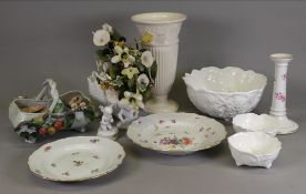 Two Meissen plates, painted with flowers, Victorian teapot, sucriers and cake plates, Wedgwood,