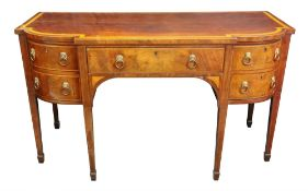 A George III mahogany satinwood crossbanded boxwood and ebony strung breakfront sideboard,