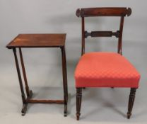 A Regency rosewood dining chair, with curved bar back, stuff over seat,
