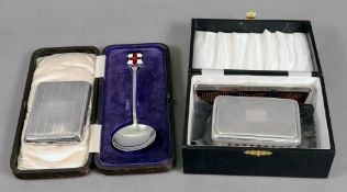A lady's engine turned silver rectangular cigarette case, Birmingham 1919,