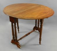 A Victorian walnut Sutherland table, the hinged oval top on dual turned end standards,