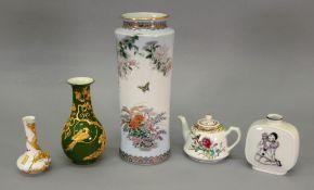 A modern Chinese green glazed baluster vase,