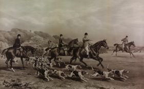 W H Hopkins & E Havell - Fox Hunt in progress, black and white print, 58 x 78cm,
