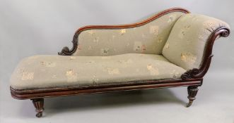 A William IV rosewood frame chaise longue,