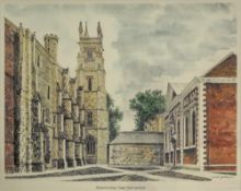 Three prints of Winchester College and St Cross, two artist signed etchings of Minden, Germany,