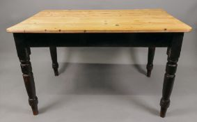 A Victorian pine kitchen table, with end drawer, on turned legs, 121cm wide x 75cm deep x 73cm high.