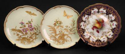 A pair of Derby dessert plates, gilt with butterflies,