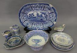 A Copeland & Garrett late Spode blue and white transfer printed pedestal bowl, 25cm diameter,