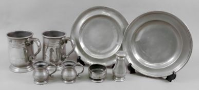A pewter soup plate, ACH. P.2, with moulded rim, 22.5cm diameter, a similar plate, 22.