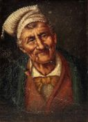 German School, 19th Century, An elderly man smoking a pipe, oil on board, indistinctly signed, 19.