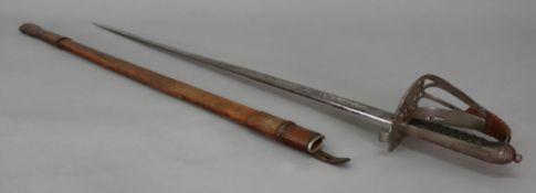 A Victorian British Infantry Officers sword, with regimental crest, wire bound fish skin grip, 32.