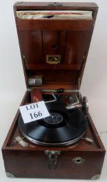 Lot 166 - An early 20th century HMV mahogany portable gramophone player,