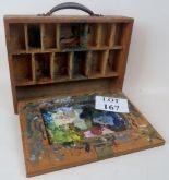Lot 167 - A vintage wooden artist's paint box est: £30-£50