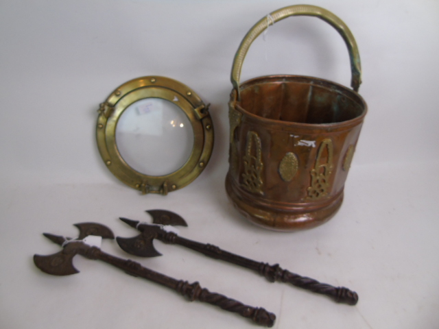 Lot 129 - A Chinese copper and brass bucket, a bra
