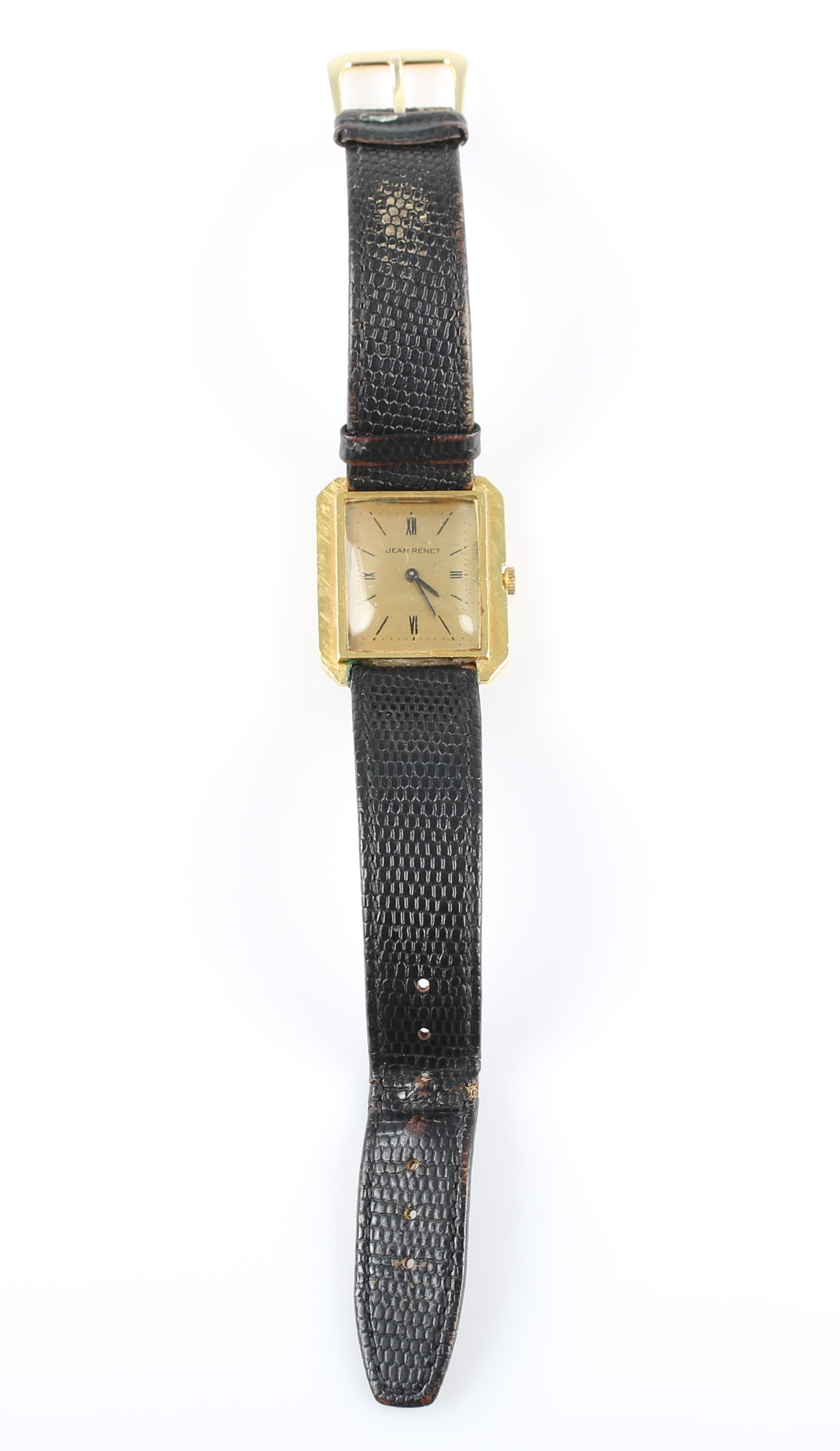 Lot 27 - An 18ct yellow gold Jean Renet wrist watch, the gold-tone dial having hourly baton and quarterly