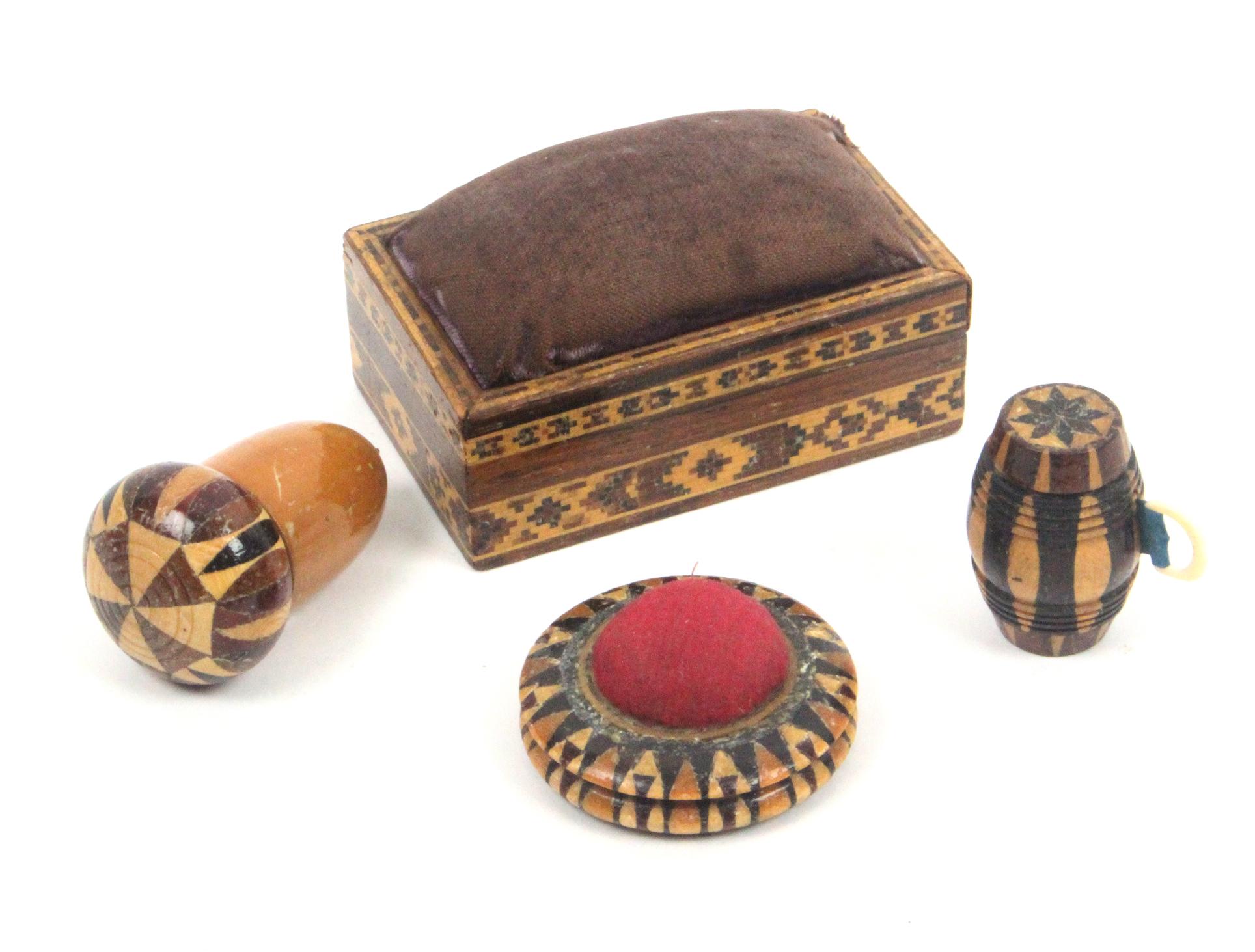Lot 29 - Tunbridge ware - sewing - four pieces comprising an acorn form thimble case with stick ware cover,