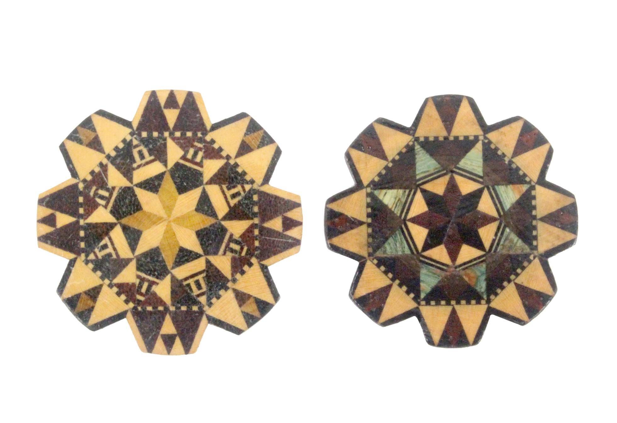 Lot 25 - Two Tunbridge stick ware thread winders of geometric design and circular form, 4.5 and 4.7cm dia (