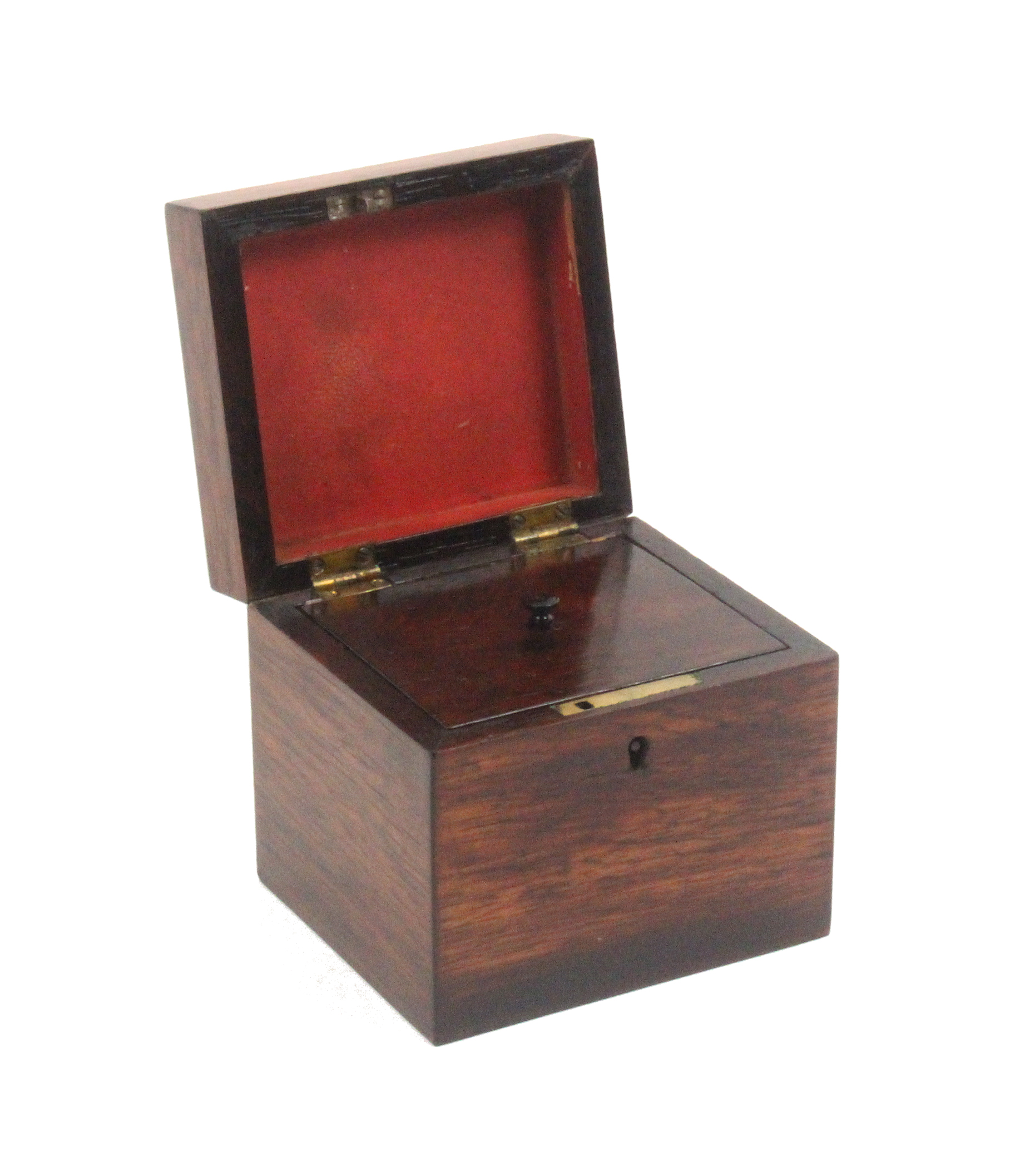 Lot 40 - A rosewood Tunbridge ware tea caddy of rectangular form, the lid with a cube work panel within