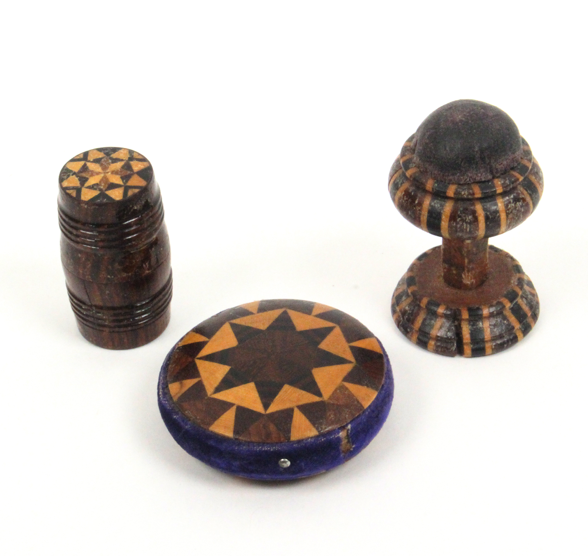 Lot 3 - Tunbridge ware - sewing - three pieces all in stick ware comprising a disc form pin cushion, 4cm