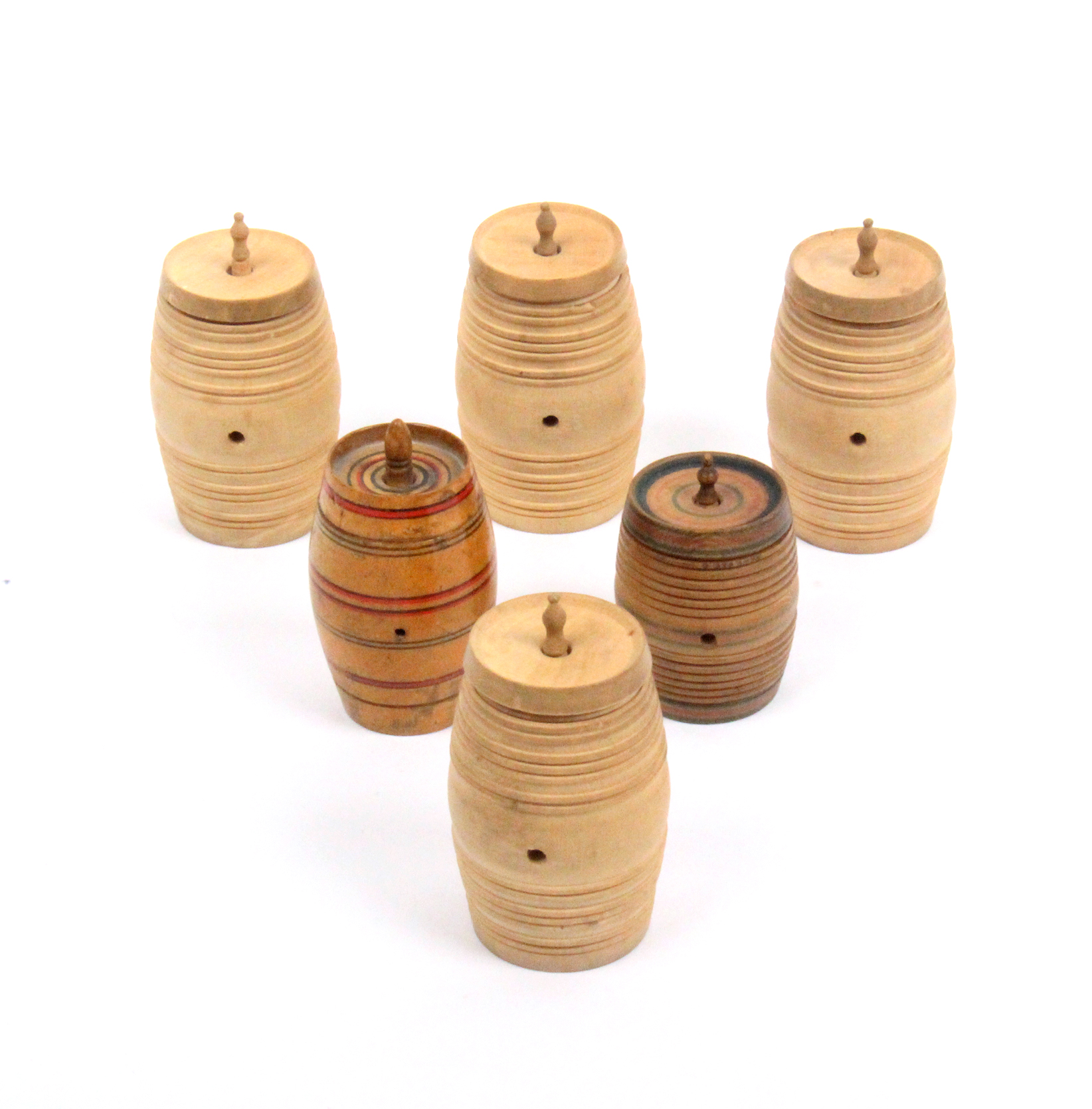 Lot 18 - Six whitewood cotton barrels comprising a set of four in plain whitewood and two variant examples