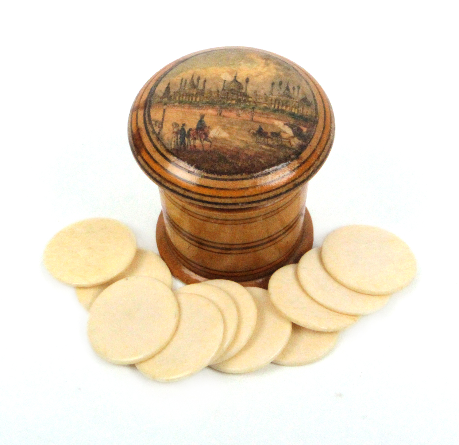 Lot 36 - An early Tunbridge ware ring painted box of tapering cylinder form, the domed screw lid with a