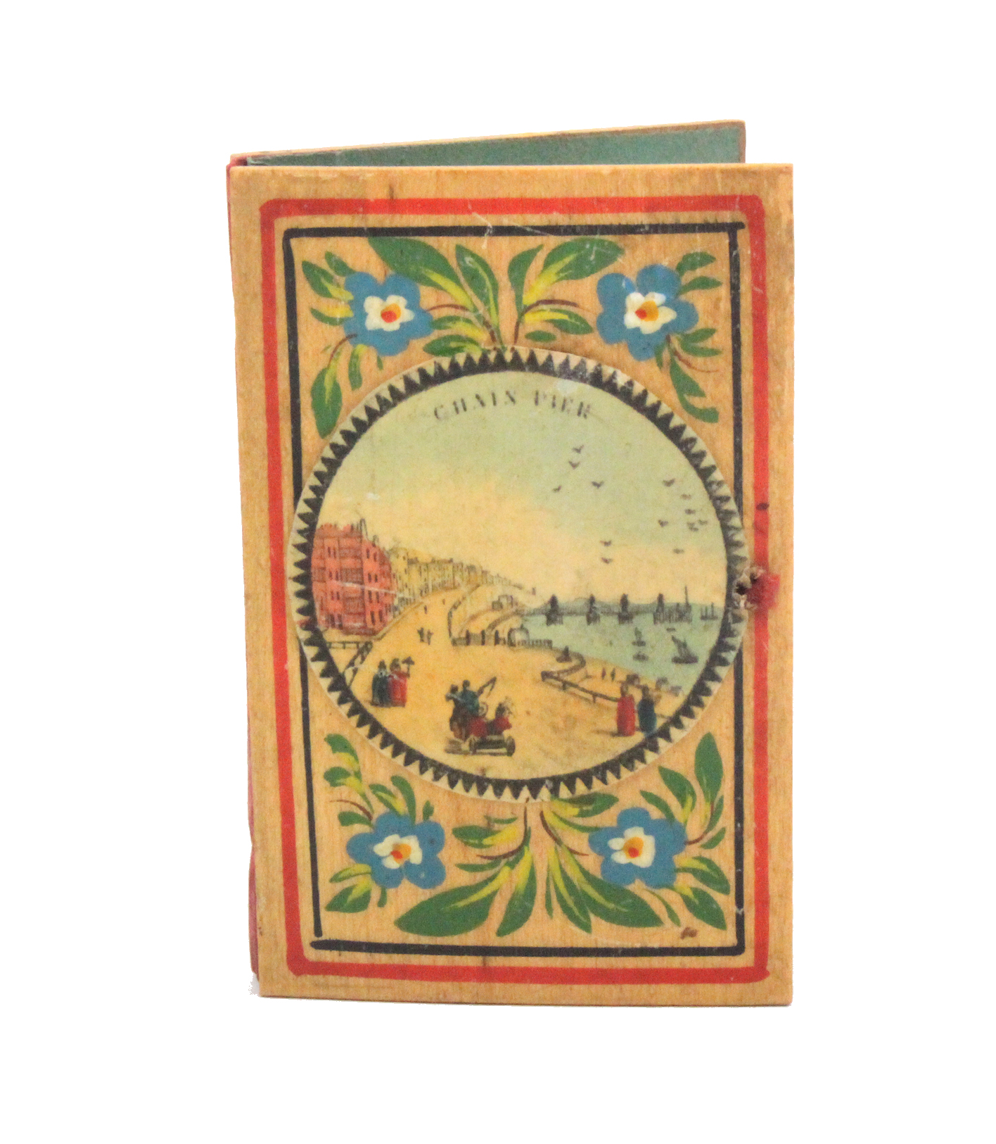 Lot 23 - A good early painted Tunbridge ware whitewood needle book, the cover with a titled circular colour