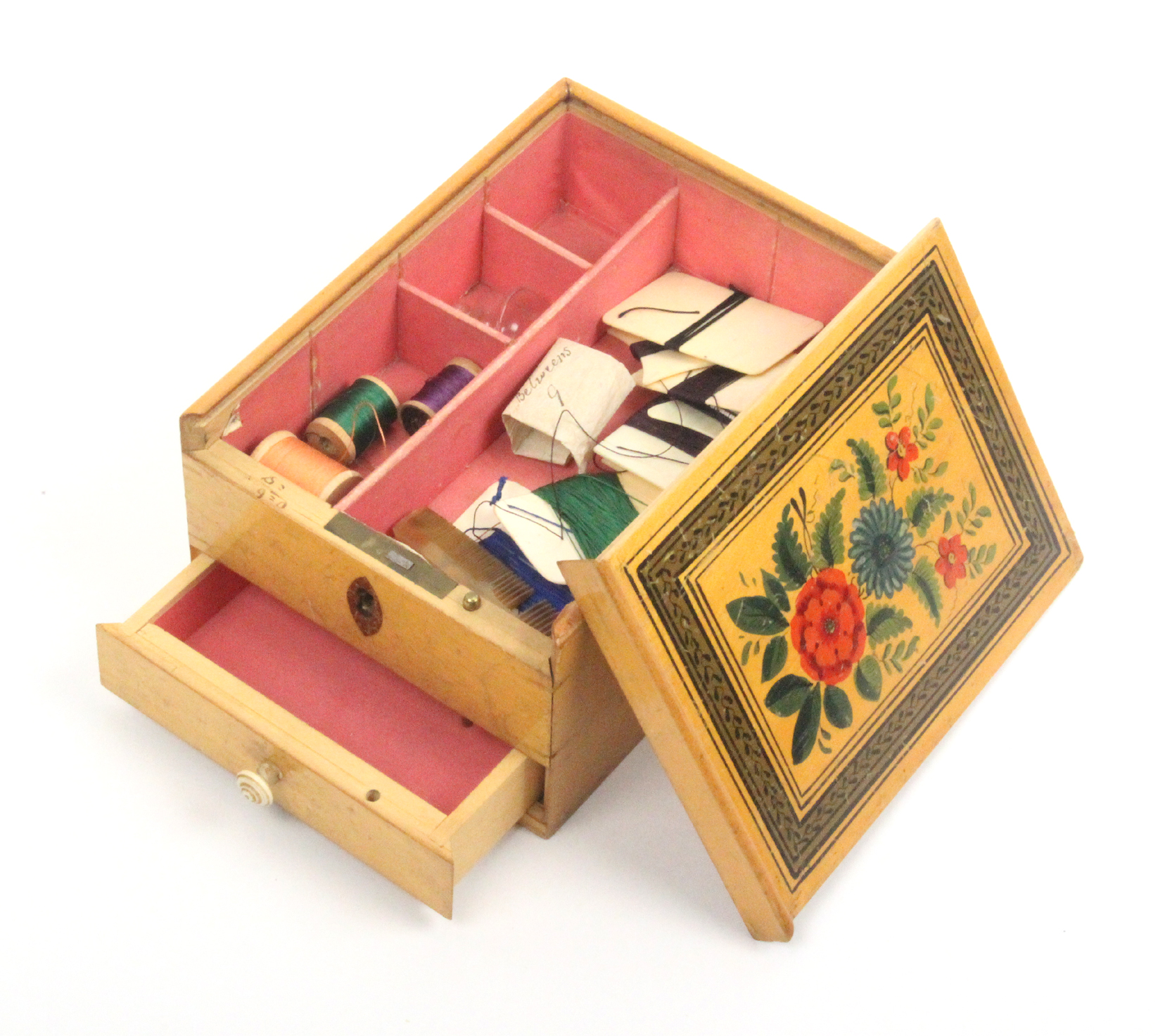Lot 20 - An early painted Tunbridge ware whitewood sewing box of rectangular form, the sliding lid brightly