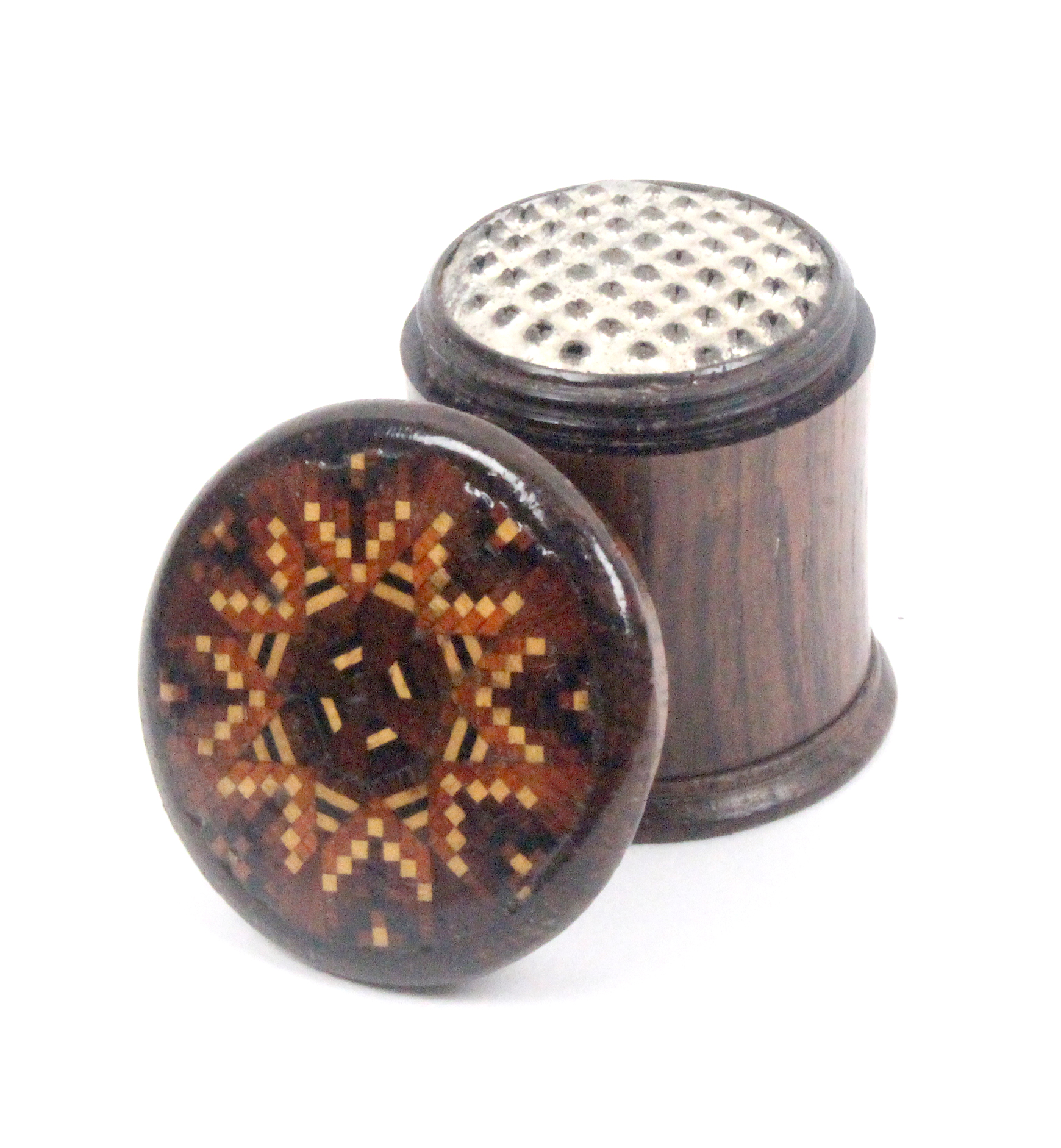Lot 31 - A Tunbridge ware rosewood cylinder form nutmeg grater, the overhanging lid in geometric mosaic,