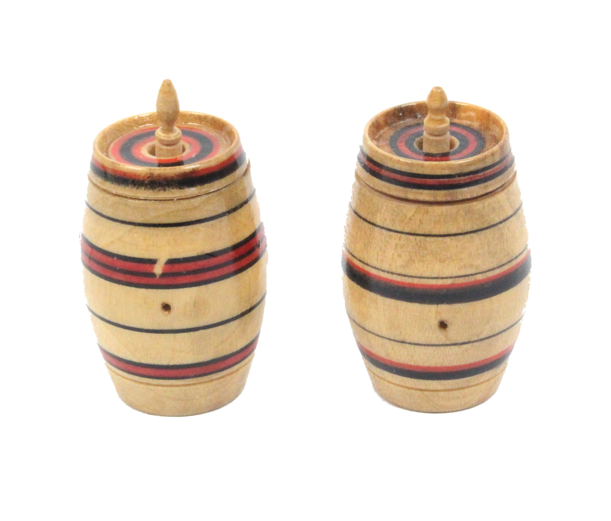 Lot 10 - Two painted Tunbridge ware cotton barrels with red and black ring turned decoration, each 4.2cm high