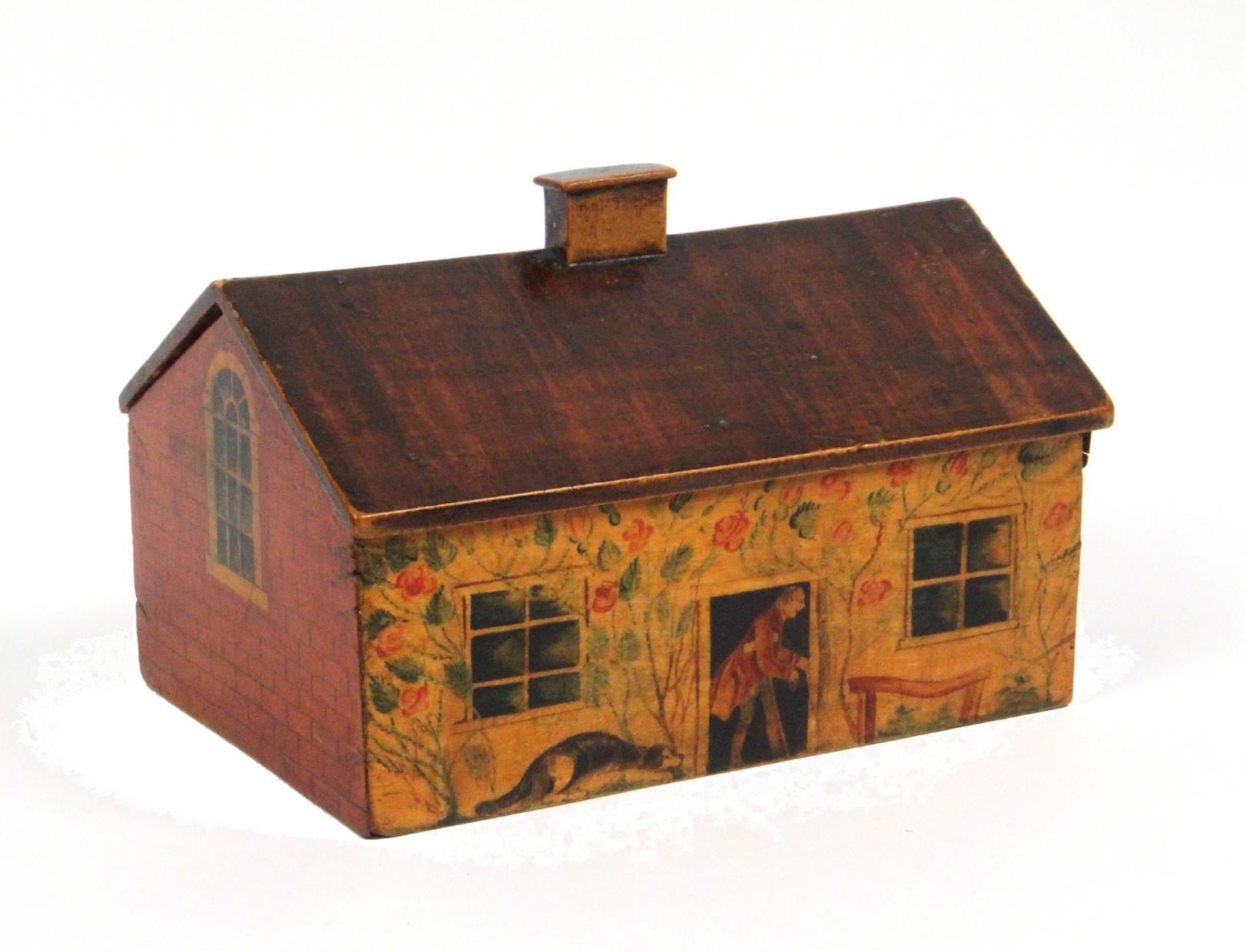 Lot 34 - A rare painted Tunbridge ware cottage sewing box of single storey form, one long side painted with a
