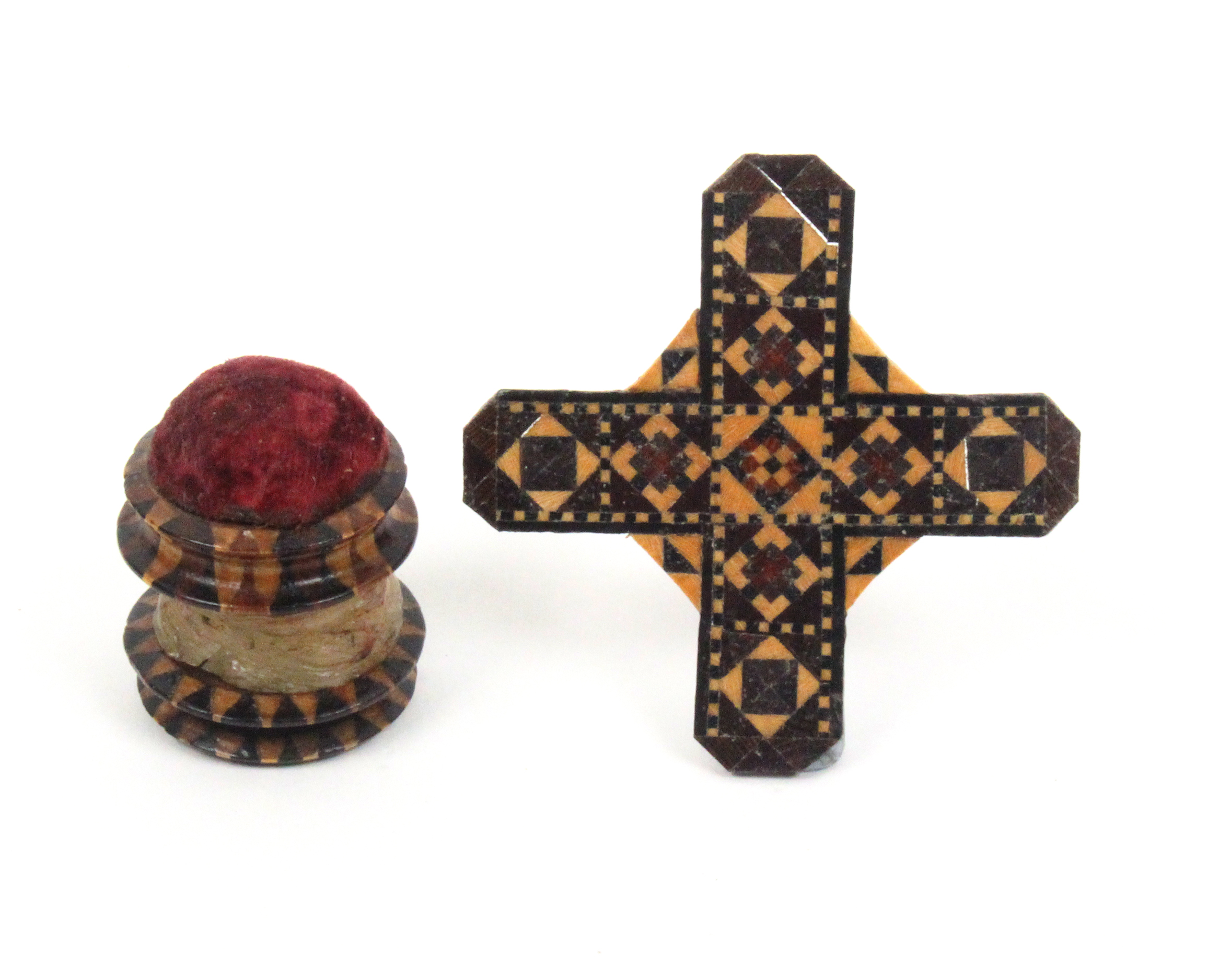 Lot 2 - Tunbridge ware - sewing - two pieces comprising a combination waxer/pincushion in stick ware, the