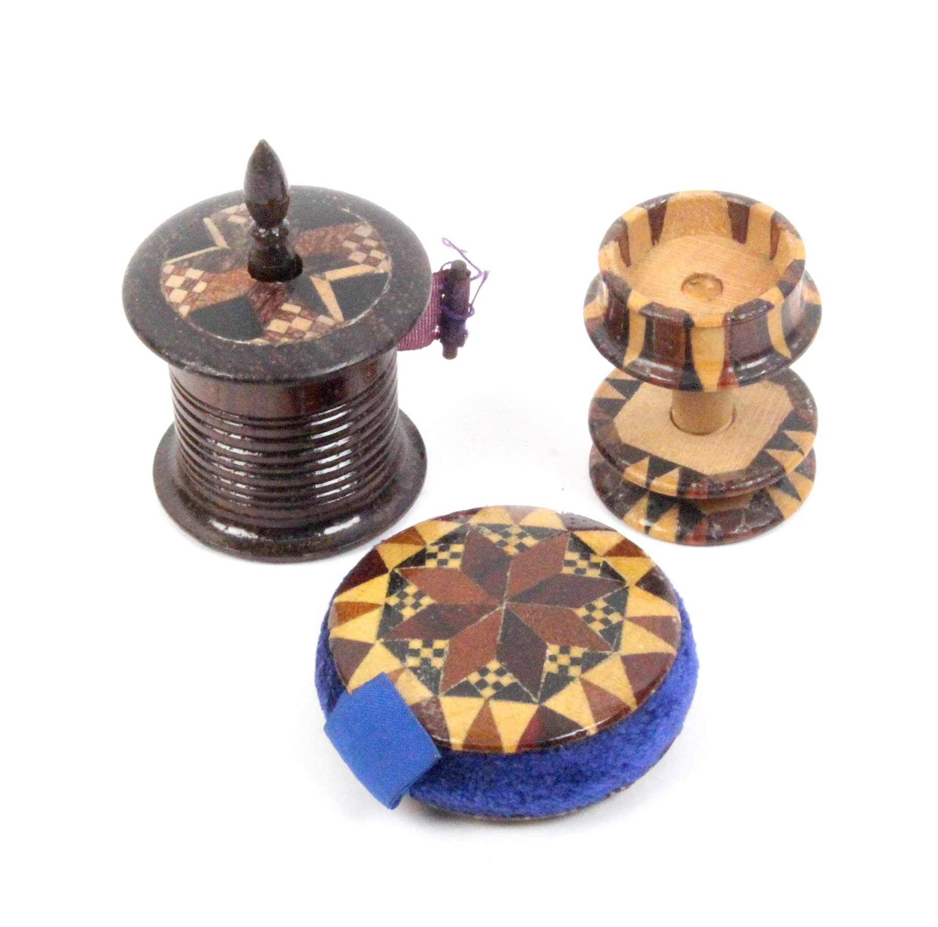 Lot 12 - Three pieces of Tunbridge ware - sewing - comprising a disc form pin cushion, 3.5cm, a combined