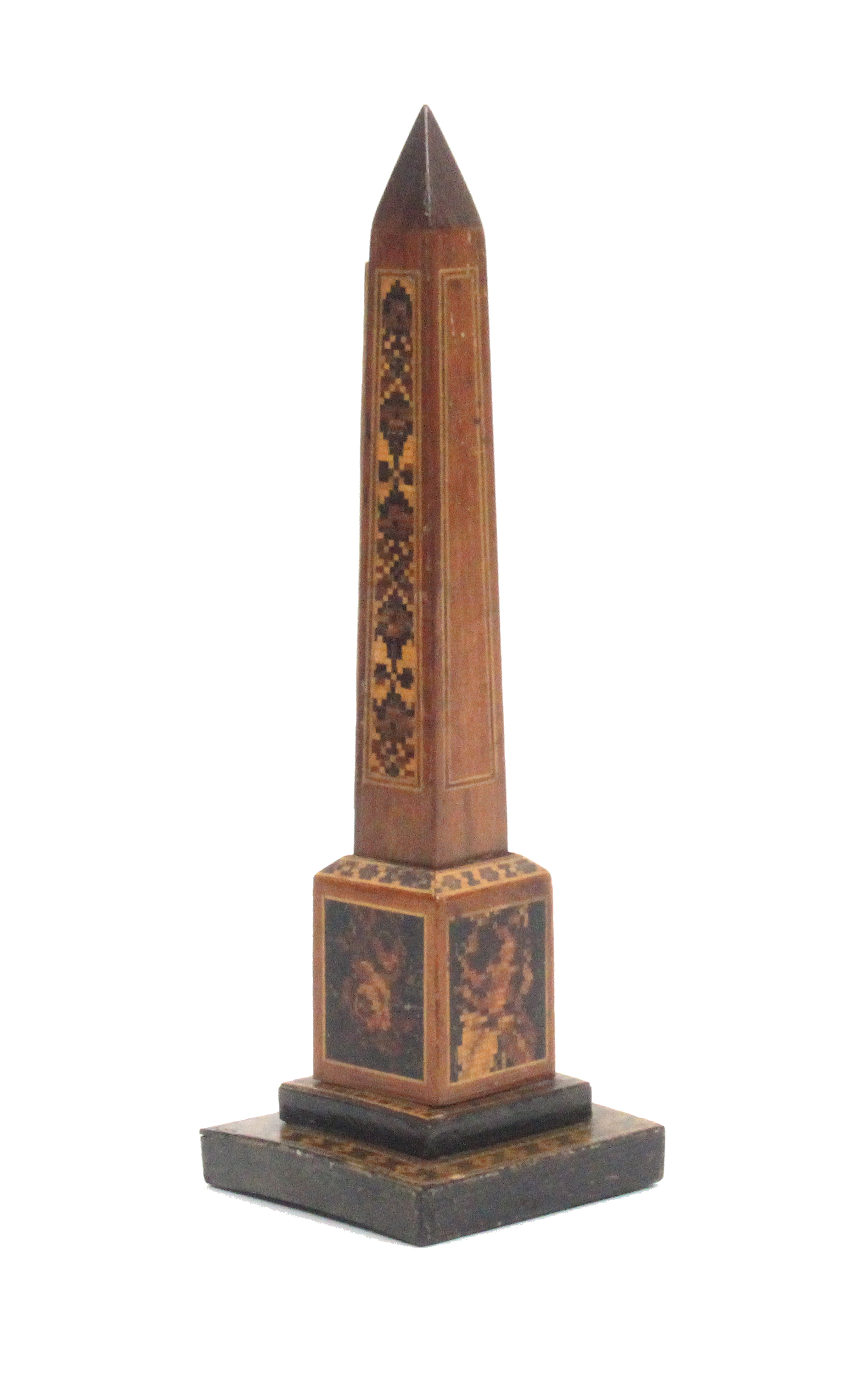 Lot 39 - A Tunbridge ware rosewood obelisque form thermometer the stepped base with geometric and floral