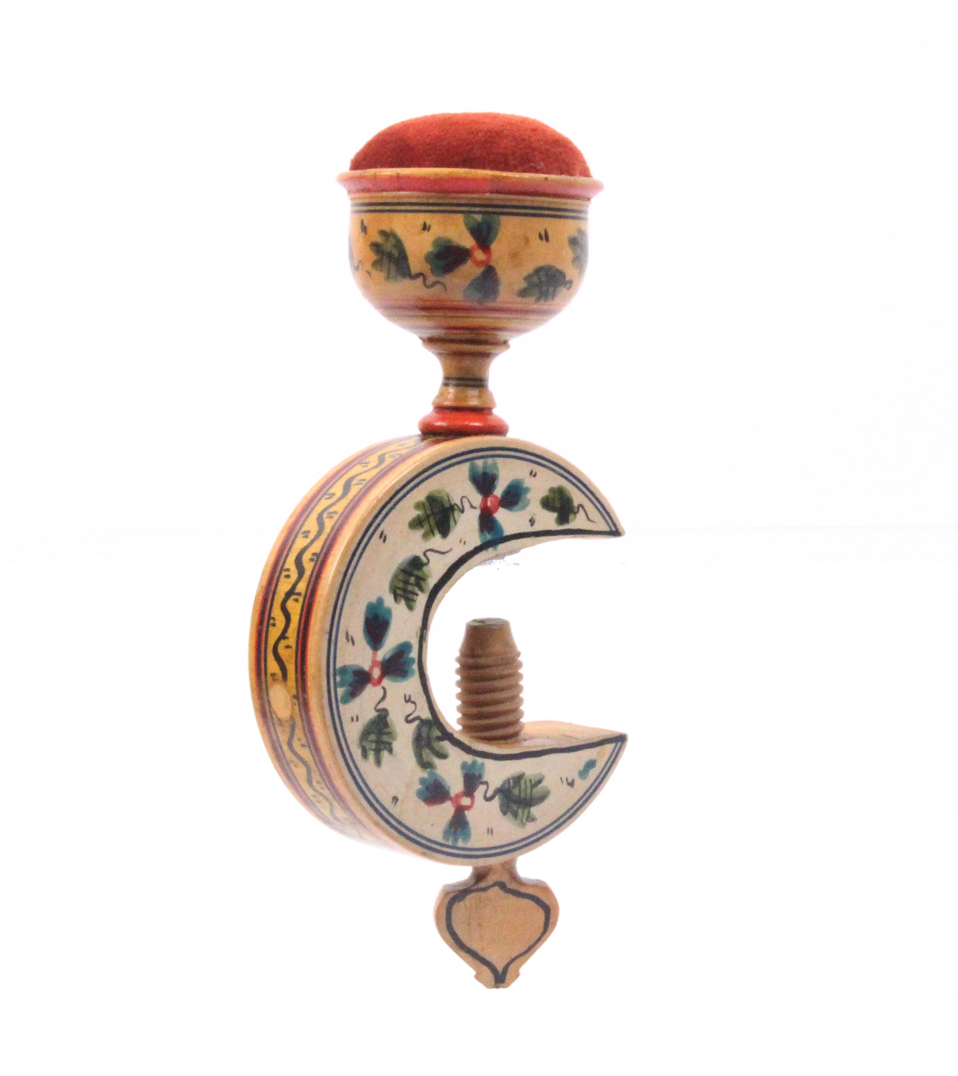Lot 4 - A painted Tunbridge ware sewing clamp, the 'C' frame painted with flowers below a vase form pin