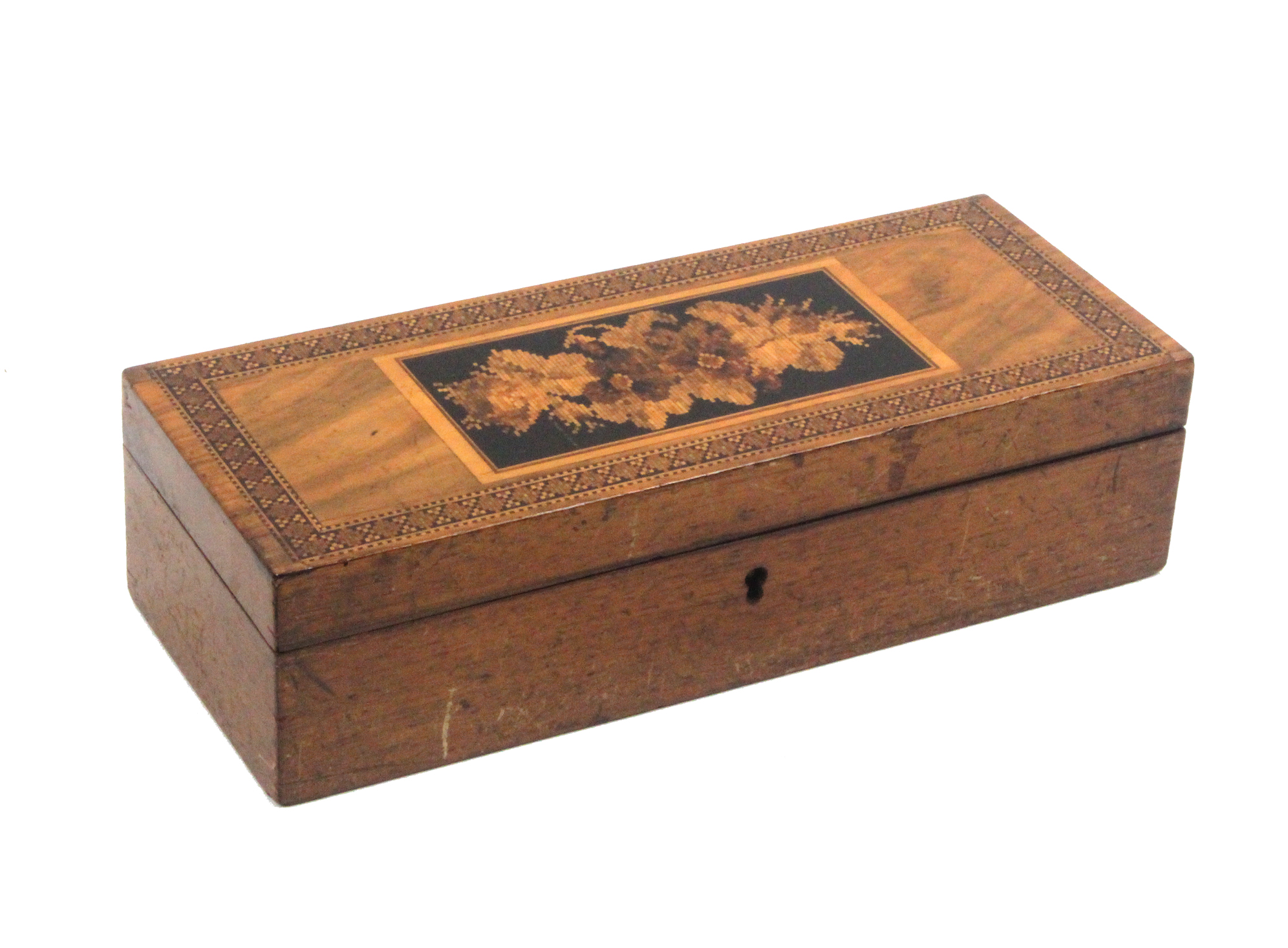 Lot 43 - A Tunbridge ware faded rosewood rectangular box, the hinged lid with a floral mosaic panel within
