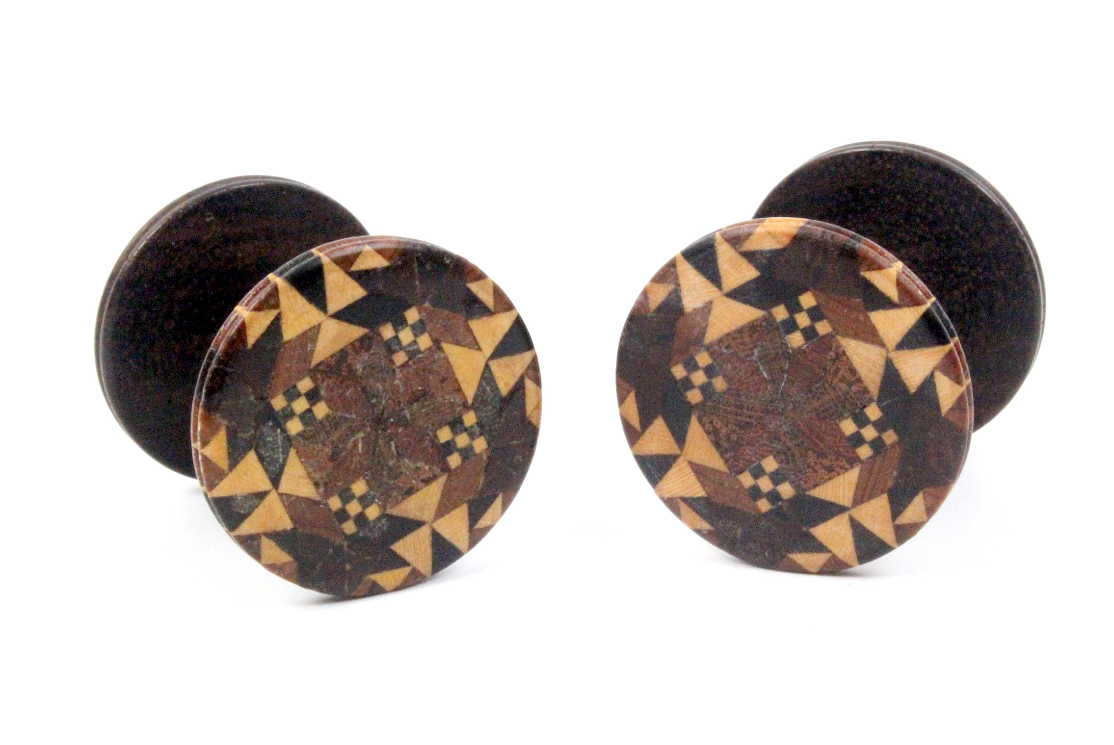 Lot 11 - Two rosewood Tunbridge ware reels each with stick ware top, 3.5cm (2)