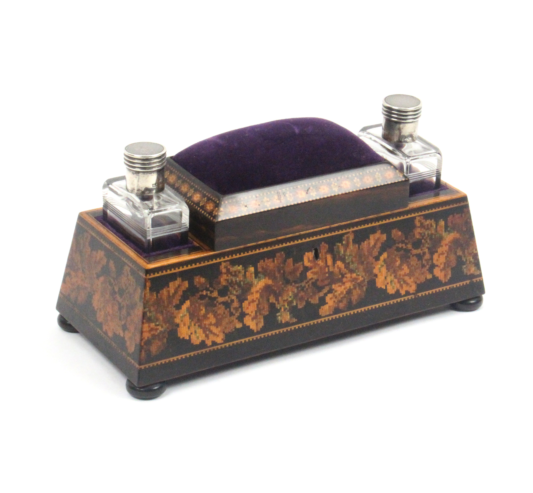 Lot 41 - A Tunbridge ware dressing table box by Thomas Barton the sloping sides raised on bun feet and with a