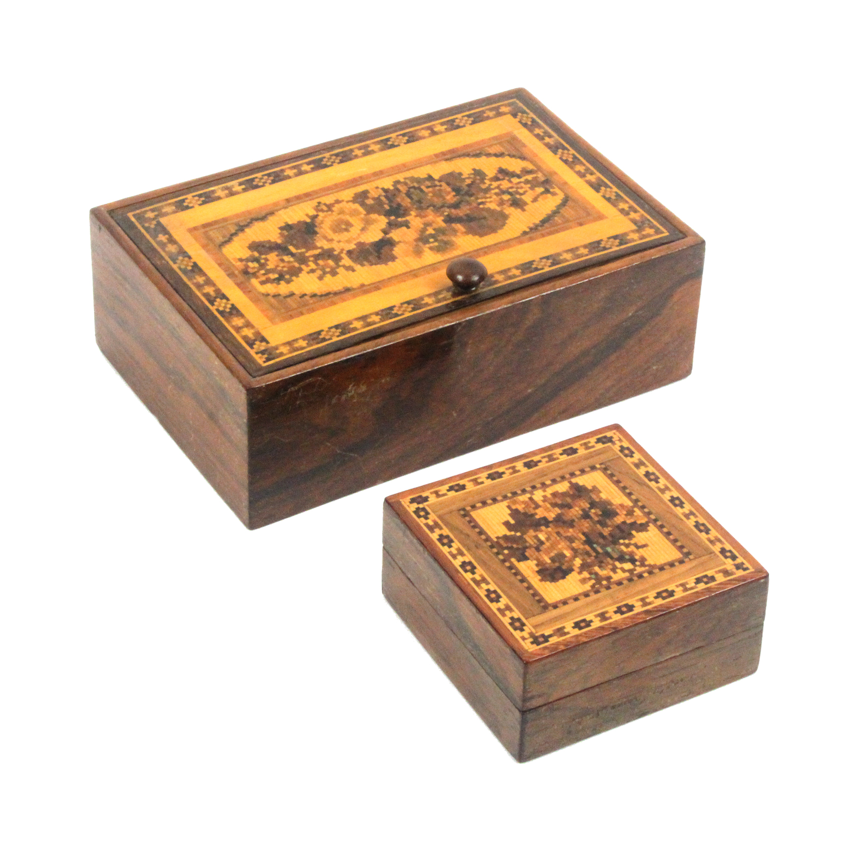 Lot 33 - Two Tunbridge ware rosewood boxes comprising a rectangular example the pin hinge lid with a panel of