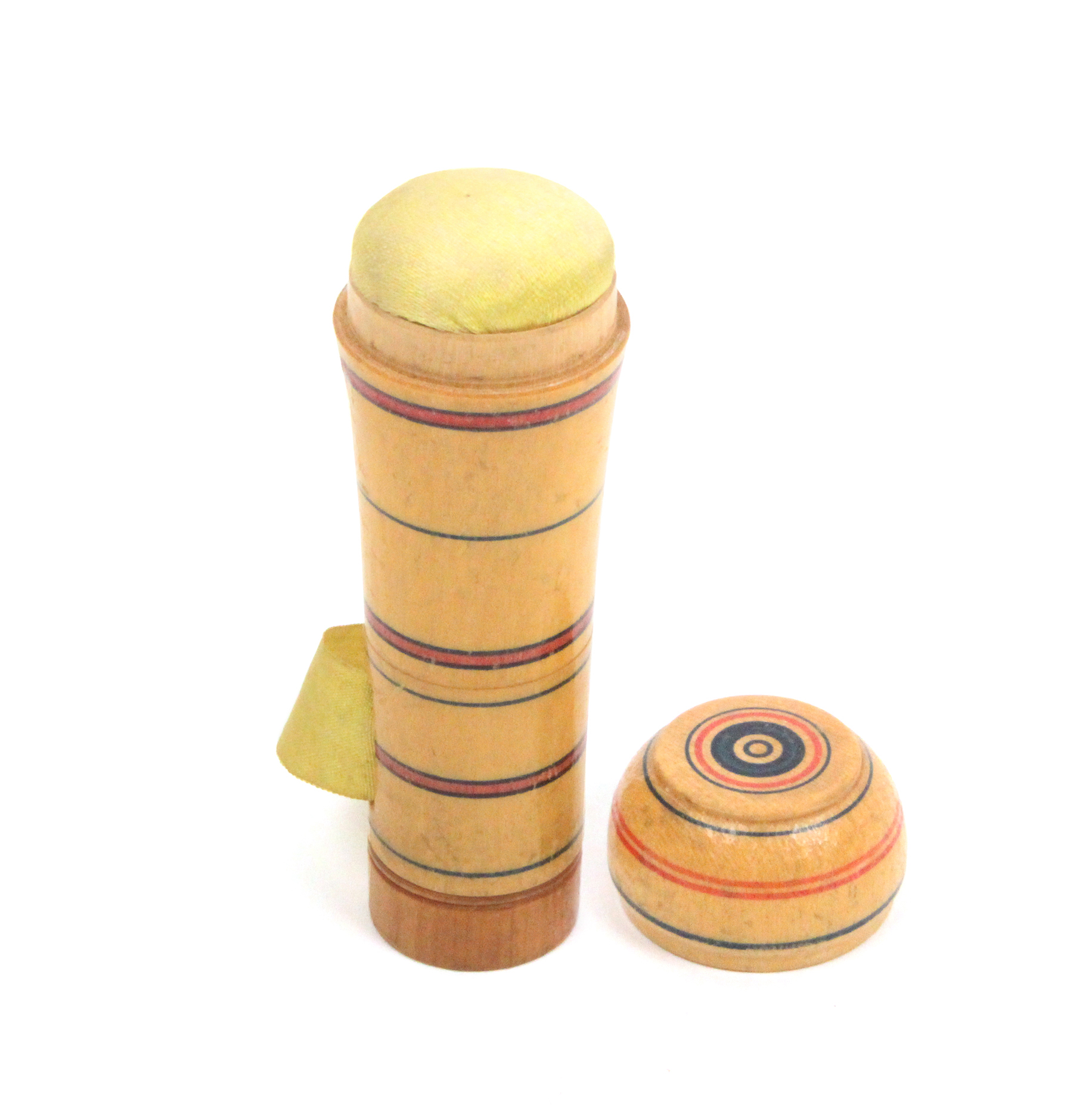 Lot 15 - An early painted Tunbridge ware combination pin poppet/tape measure of tapering cylinder form the