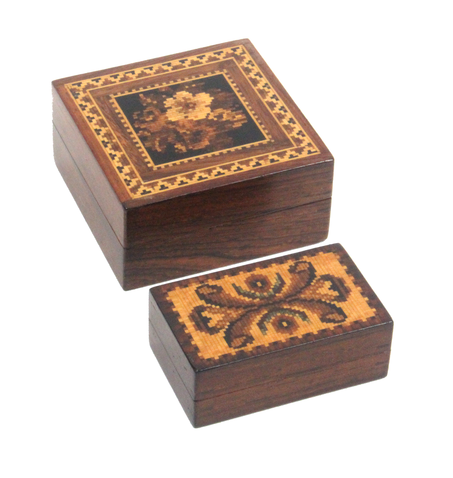 Lot 48 - Two Tunbridge ware rosewood boxes both with lift off lids, one with a floral mosaic panel, 6.2cm