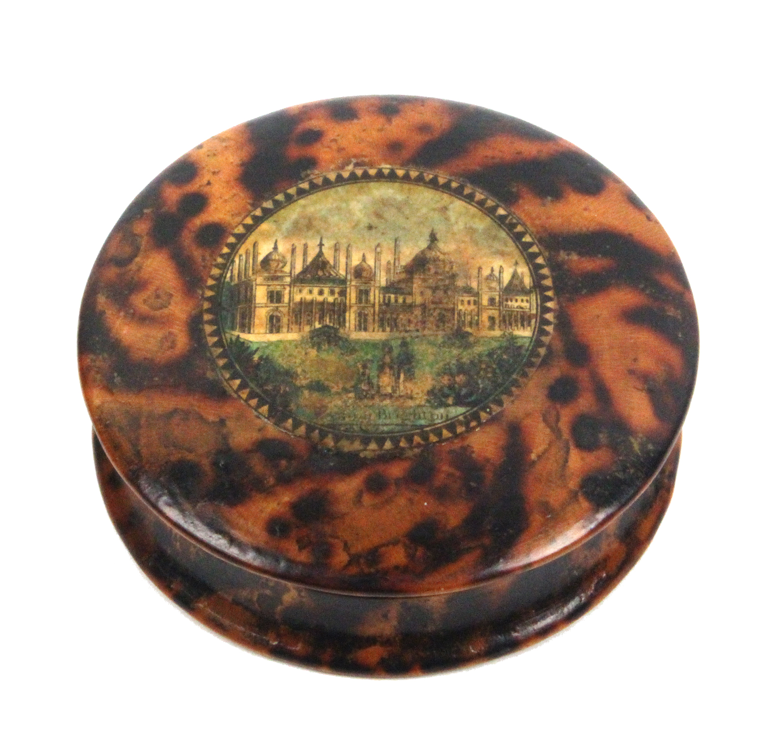 Lot 37 - An early Tunbridge ware circular box in simulated tortoiseshell, the domed lid with a colour print
