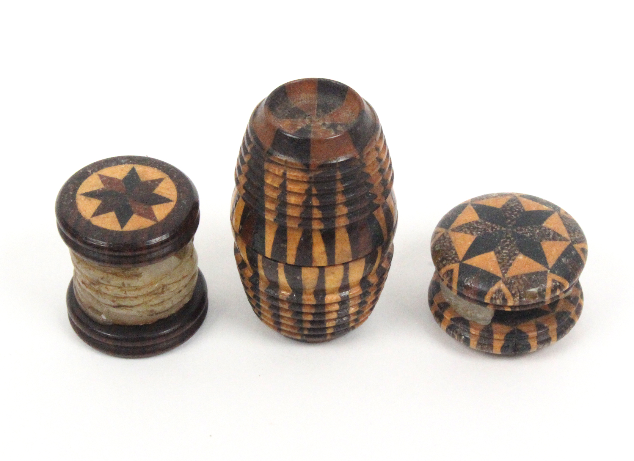 Lot 1 - Tunbridge ware - sewing - three pieces comprising a barrel form stick ware waxer with dished ends,